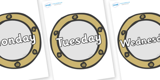 Days of the Week on Portholes - Days of the Week, Weeks poster, week, display, poster, frieze, Days, Day, Monday, Tuesday, Wednesday, Thursday, Friday, Saturday, Sunday