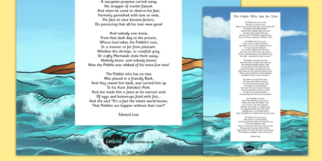 The Pobble Who Has No Toes Edward Lear Poem Print Out - poetry, literature, key stage 2, KS2, English, Key Stage 3, KS3
