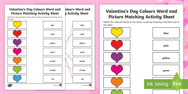 Valentine's Day Colours Word and Picture Matching Activity Sheet - Canada Valentines Day, language, hearts, colours, valentines