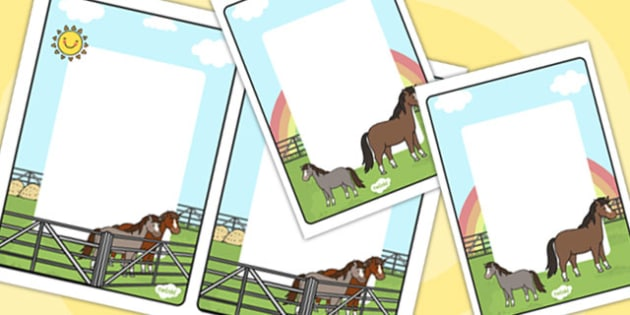 Horses and Ponies Themed Editable Note - horses, ponies, editable