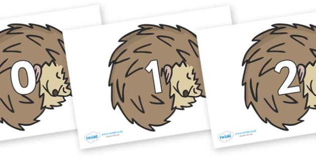 Numbers 0-31 on Hedgehogs - 0-31, foundation stage numeracy, Number recognition, Number flashcards, counting, number frieze, Display numbers, number posters