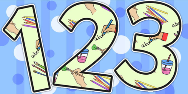 Mark Making Area Themed Display Numbers - mark making, numbers