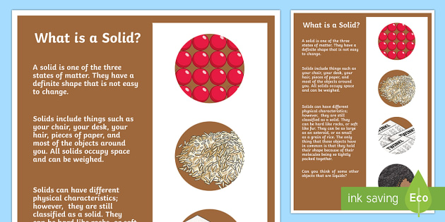 What is a Solid? A4 Display Poster-Australia - Australia Science, science, australian curriculum, what's the matter, solids, liquids, gases, solid