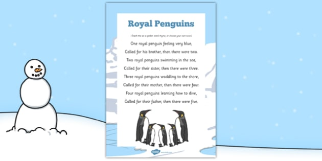 Royal Penguins Rhyme - Antarctic, Polar, Penguin, rhyme, song, eyfs, early years