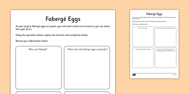 Fabergé Eggs Research Activity Sheet - Faberge, egg, russia, tsar, research , worksheet