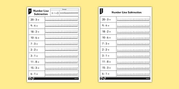 Subtraction From 20 Number Line Worksheet - subtraction, line