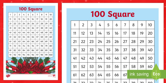 Christmas Themed 100 Number Square-Welsh - Christmas, Number Square, Sgwar Cant, Sgwâr Cant, Nadolig, Welsh, Wales.,Welsh - Christmas, Number Square, Sgwar Cant, Sgwâr Cant, Nadolig, Welsh, Wales.,Welsh