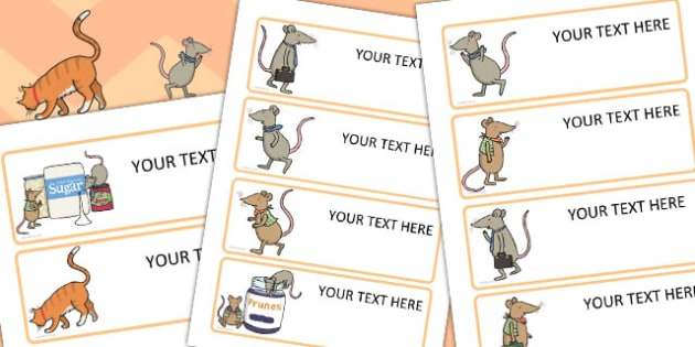 Town Mouse and the Country Mouse Editable Drawer Peg Name Labels