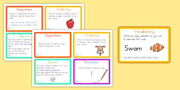 Vocabulary, Connectives, Openers and Punctuation Challenge Cards - VCOP