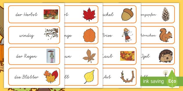 Herbst Wort- und Bildkarten