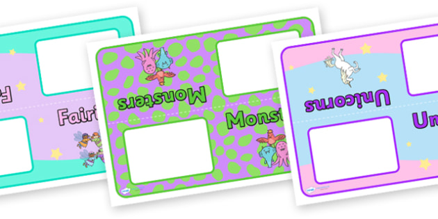 Editable Class Group Table Signs (Fantasy) - Woodland Animals, group signs, group labels, group table signs, table sign, teaching groups, class group, class groups, table label, fantasy, teddy bear, mermaid, fairy, pirates