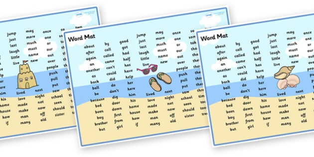 Seaside Themed KS1 Word Mats - seaside, seaside themed word mat, seaside themed ks1 word mats, seaside themed ks1 word mat, seaside ks1 word mats, word mat