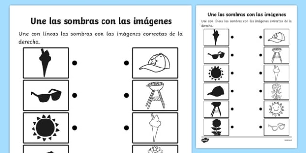 Une las sombras con las imágenes Summer Shadow Matching Activity Sheet Spanish - shadows, silhouettes, match, summertime, Timw, worksheet