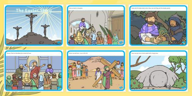 The Easter Story - Easter Sequencing, Easter Story, Foundation, KS1, Easter, Easter resource, Easter bible, Easter teaching resource, Easter Jesus, Easter Sunday, Easter, bible, egg, Jesus, cross, Easter Sunday, bunny, chocolate, hot cross buns