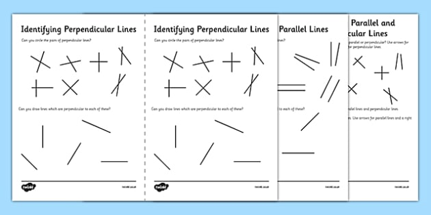 Identifying Parallel and Perpendicular Lines Activity Sheet Pack – Geometry Parallel and Perpendicular Lines Worksheet