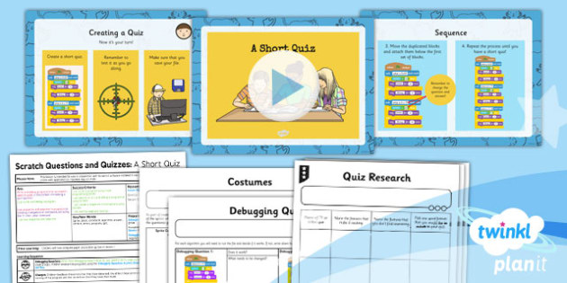 PlanIt Computing Y4 Scratch Questions and Quizzes Lesson 2 A Short Quiz Pack