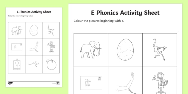 e Phonics Colouring Activity Sheet - Republic of Ireland, Phonics Resources, sounding out, initial sounds, phonics assessment, colouring,