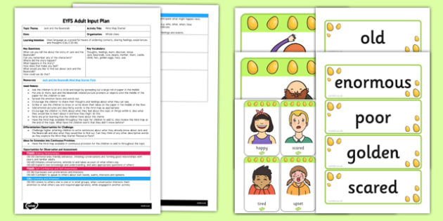 Jack and the Beanstalk Mind Map Starter EYFS Adult Input Plan and Resource Pack - EYFS planning, Early years activities, Adult led, Traditional tales