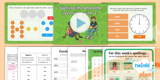 PlanIt Y1 Term 1B W4: 'e' and 'ee' Spelling Pack