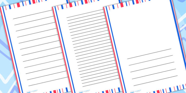 Red And Blue Striped Page Borders - writing frame, writing aid