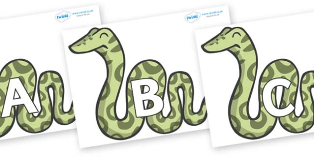 A-Z Alphabet on Snakes - A-Z, A4, display, Alphabet frieze, Display letters, Letter posters, A-Z letters, Alphabet flashcards