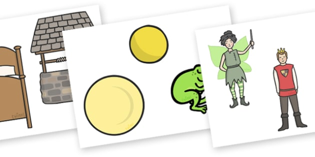 The Frog Prince Story Cut Outs - Frog, princess, prince, evil fairy, splash, kiss, well, sequencing, cut out, cut outs, cutting, story resources, story book, king, bed, sleep, golden ball, beautiful, fell, plate, palace, traditional tale, story, book