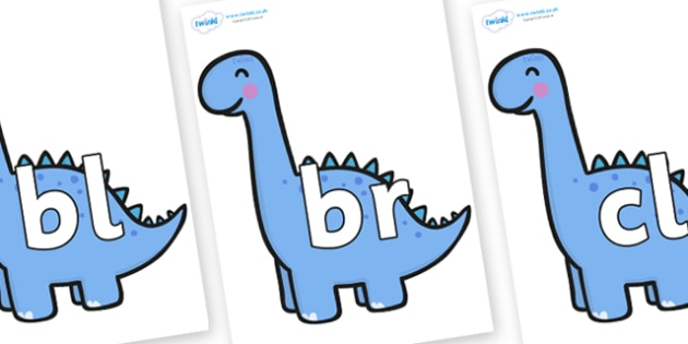 Initial Letter Blends on Diplodocus Dinosaurs - Initial Letters, initial letter, letter blend, letter blends, consonant, consonants, digraph, trigraph, literacy, alphabet, letters, foundation stage literacy