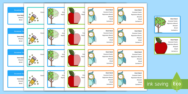 Editable Substitute Teacher Business Cards