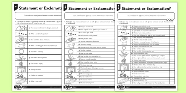 Statement or Exclamation Differentiated Activity Sheet Pack - GPS, sentence types, worksheet