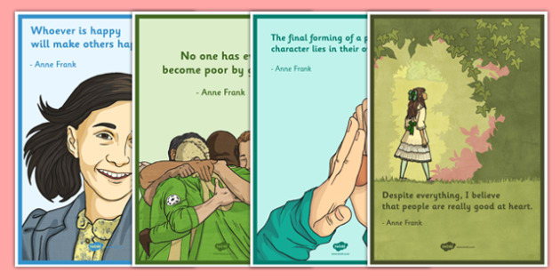 Anne Frank Quotations Poster Pack 4xA4 - anne frank, world war 2, nazi, germany, jewish