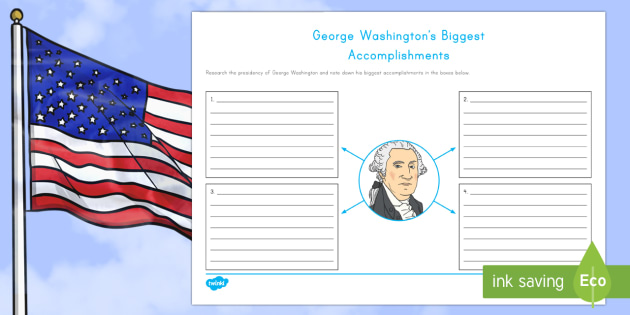 George Washington's Biggest Accomplishments Writing Activity Sheet - George Washington worksheet. American Presidents, American History, Social Studies