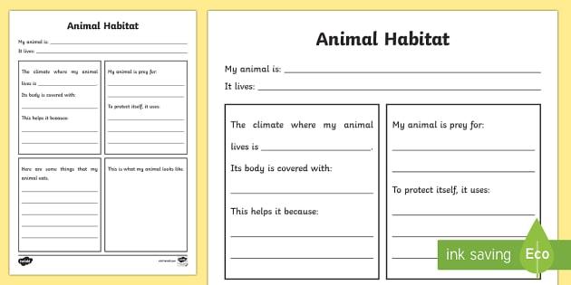 Animal Habitat Worksheet - animal habitats, habitats worksheet, animal habitats writing frame, living things, where animals live, ks2 science worksheet