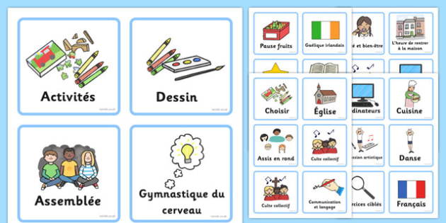 Emploi du temps visuel Français - french, Visual Timetable, SEN, Daily Timetable, School Day, Daily Activities, Daily Routine, Foundation Stage, visuel, francais, emploi du temps
