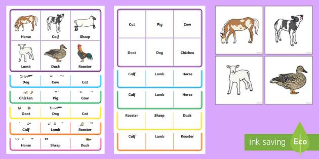 Twinkl Farm Animal Colouring Pages : Animals lotto bingo animals lotto bingo games