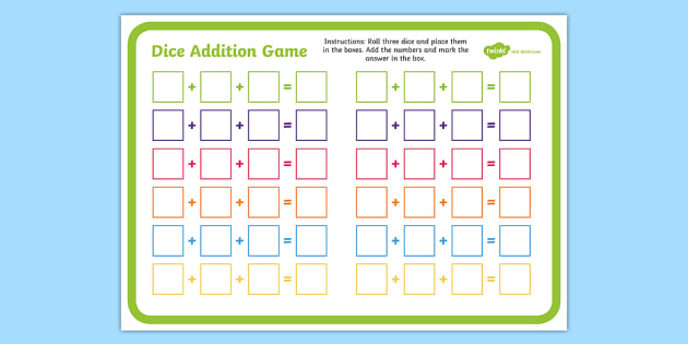 Three Dice Addition Game - thee dice, addition game, addition, game, add, activity