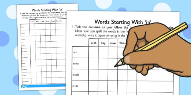 Look, Say, Cover, Write, Check Spelling Activity: Words Starting With 'in'