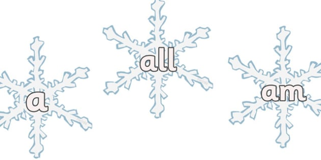Foundation Stage 2 Keywords on Snowflakes - FS2, CLL, snowflake, winter, keywords, Communication language and literacy,  Display, Key words, high frequency words, foundation stage literacy, DfES Letters and Sounds, Letters and Sounds, spelling