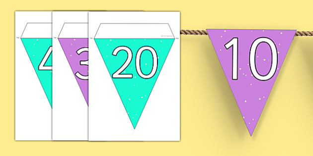 Counting in 10s Bunting - counting, bunting, display, 10, count