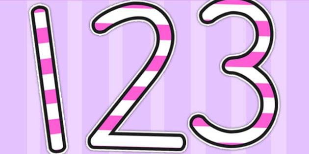 Stripey Pink Display Numbers - numbers, display numbers, number