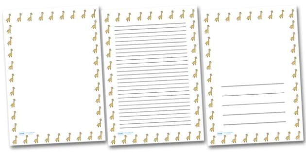 Giraffe Landscape Page Borders- Landscape Page Borders - Page border, border, writing template, writing aid, writing frame, a4 border, template, templates, landscape