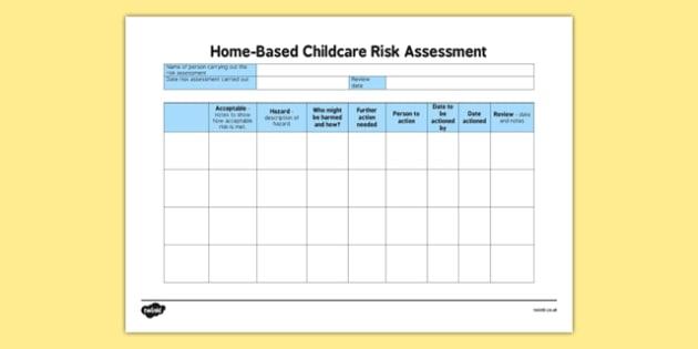 Home Based Childcare Blank Risk Assessment