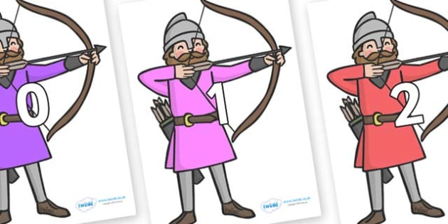 Numbers 0-50 on Archers - 0-50, foundation stage numeracy, Number recognition, Number flashcards, counting, number frieze, Display numbers, number posters