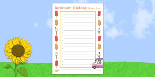 Summer Holiday Bucket List - summer holiday, bucket list, summer, holiday, activities