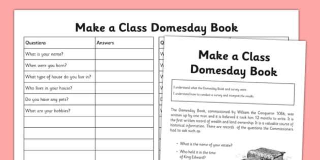 Make a Class Domesday Book - make, class, domesday book, domesday, book