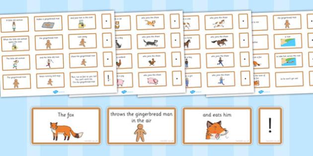 The Gingerbread Man Sentence Building Cards - gingerbread man