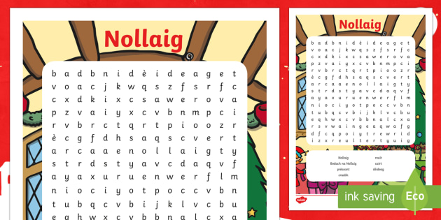 CfE Christmas  Word Search (Scottish Gaelic) Word Search-Scottish - nollaig, bodach na nollaig, reult, prèasant, craobh, reult