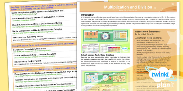 PlanIt Y4 Multiplication and Division Overview