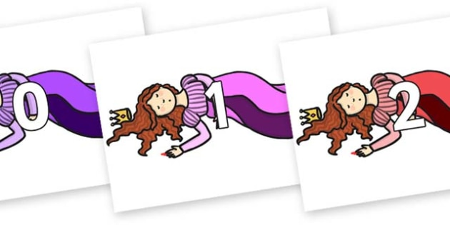 Numbers 0-100 on Sleeping Beauty Asleep - 0-100, foundation stage numeracy, Number recognition, Number flashcards, counting, number frieze, Display numbers, number posters