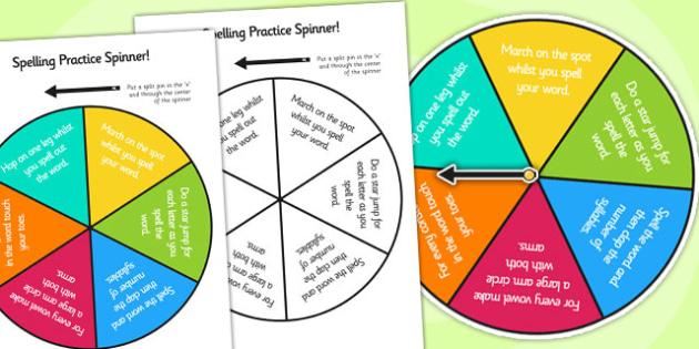 Gross Motor Spelling Practice Spinner - spelling, gross motor