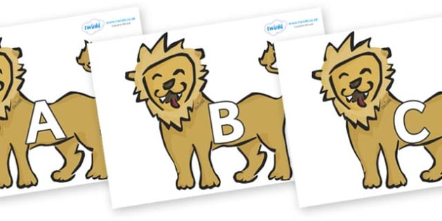 A-Z Alphabet on Lions - A-Z, A4, display, Alphabet frieze, Display letters, Letter posters, A-Z letters, Alphabet flashcards